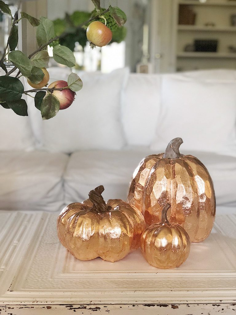 copper leaf pumpkins DIY