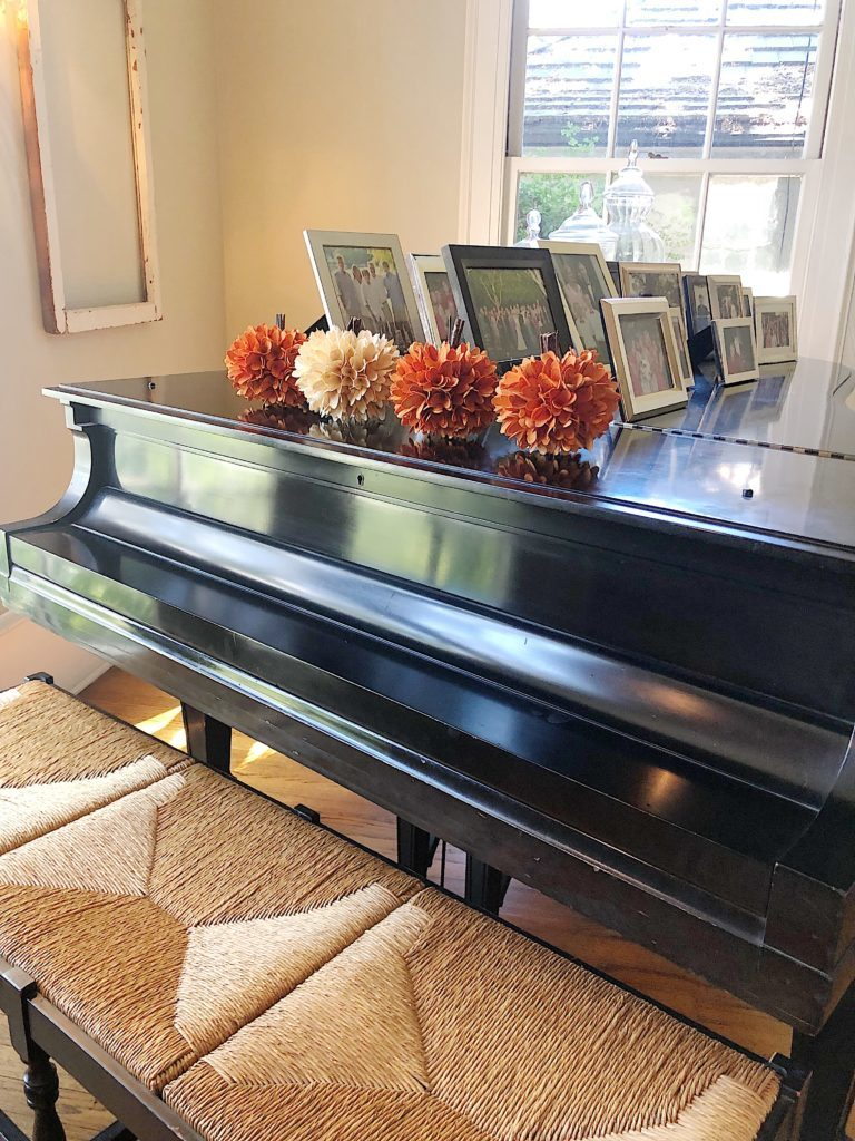 pumpkins on a piano
