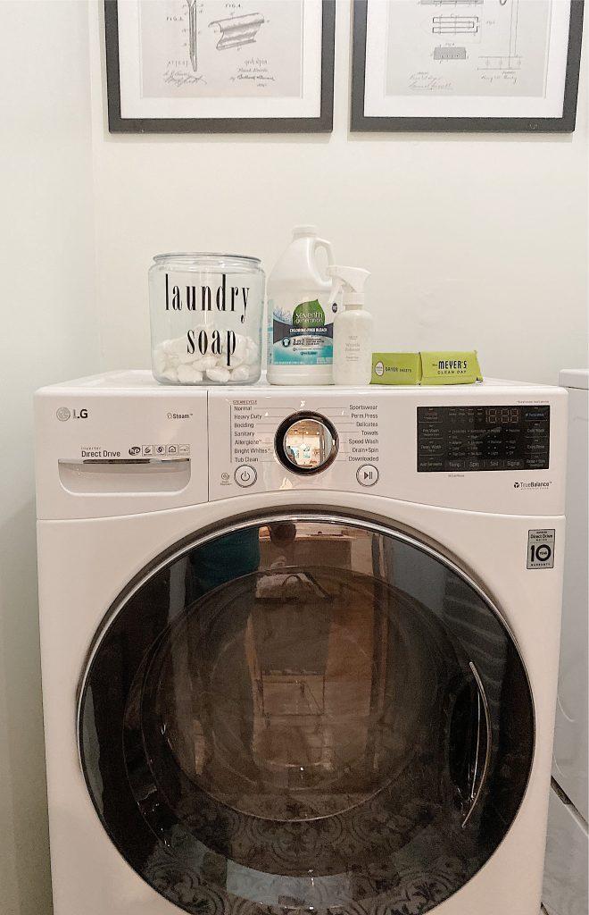 laundry products on washing machine