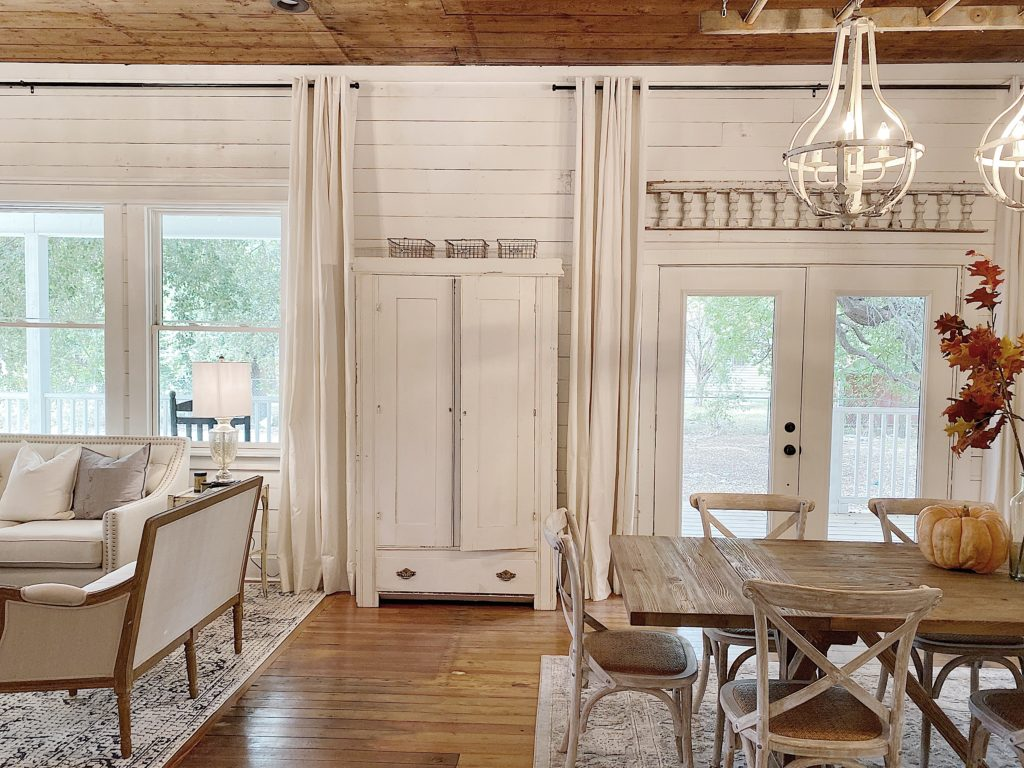 farmhouse living and dining room