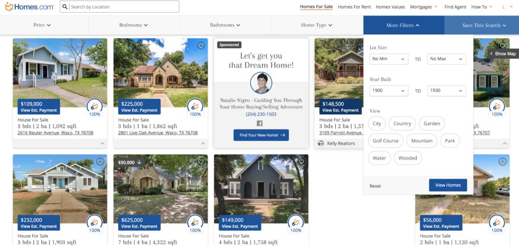 howt o search homes.com