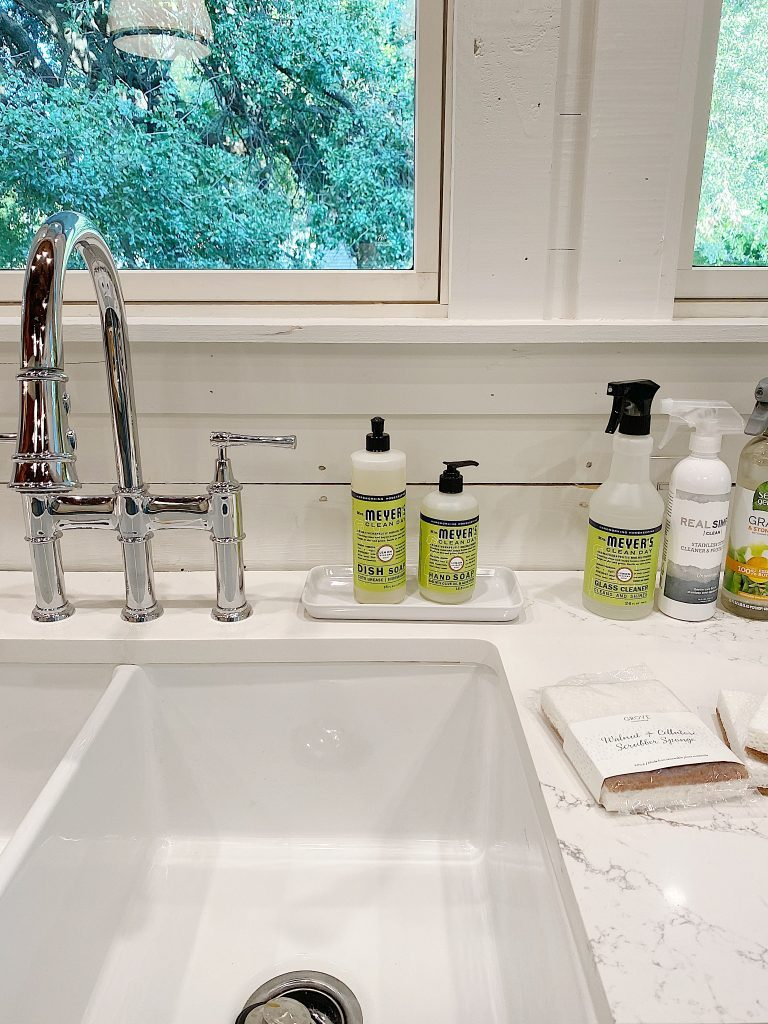sink with cleaning products