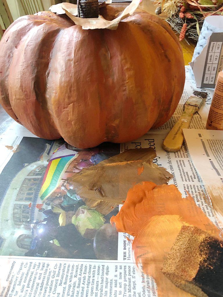 painted pumpkin with paint