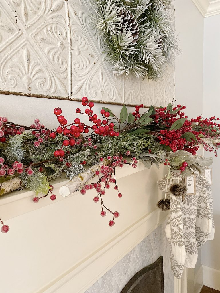 closeup view of christmas mantel decor