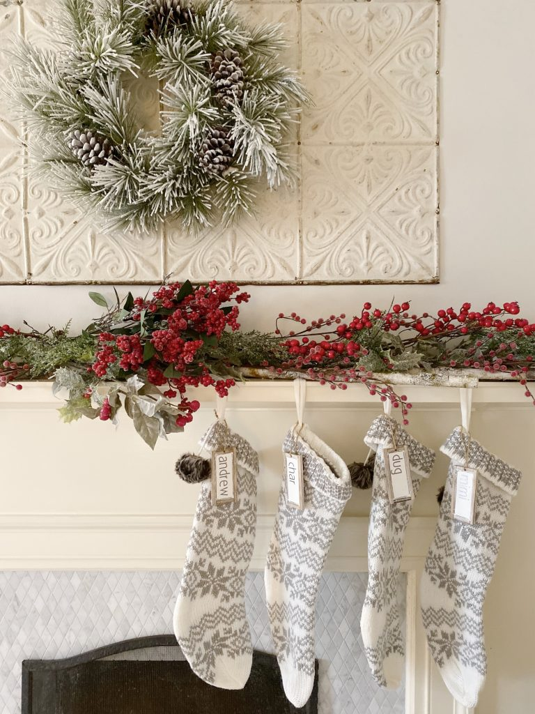 decorated mantel for the holidays