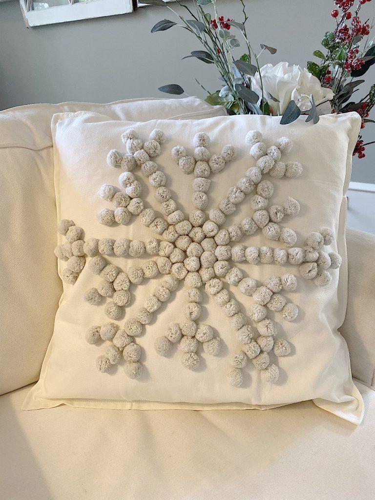 handmade christmas pom pom pillow