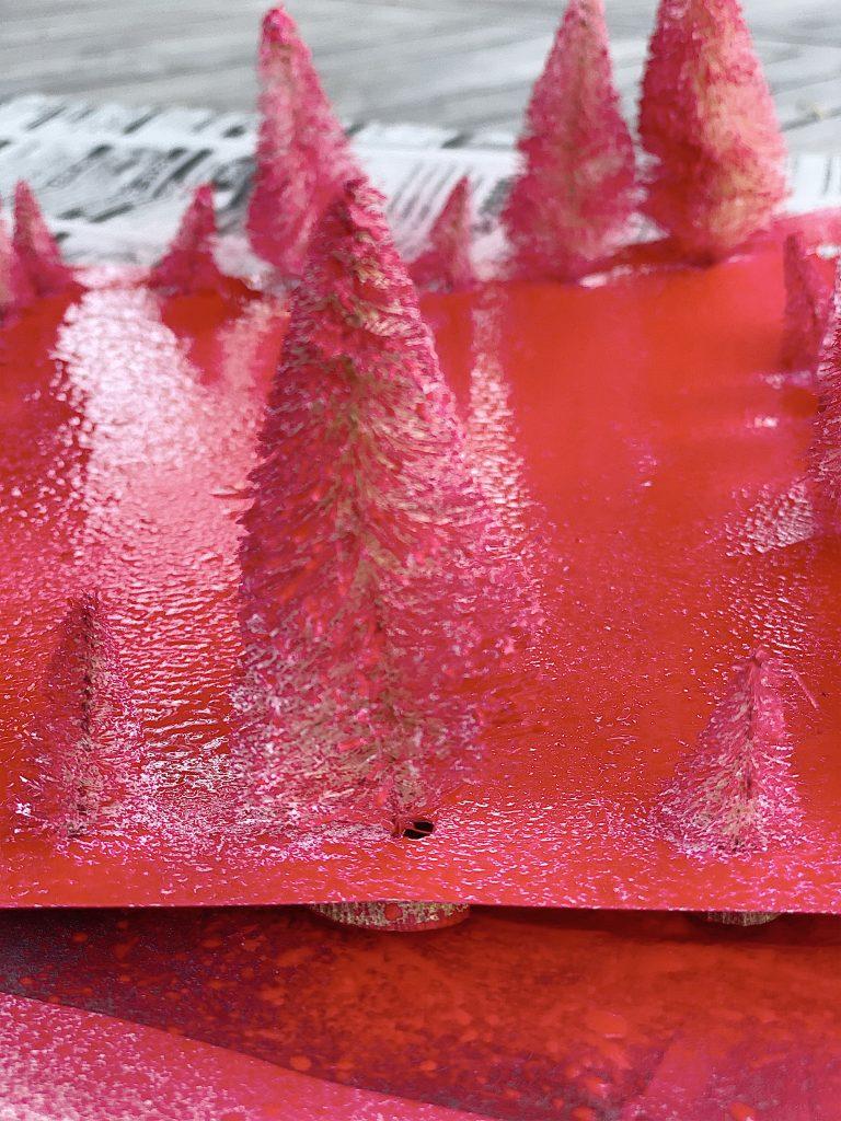 spray painting bottle brush trees