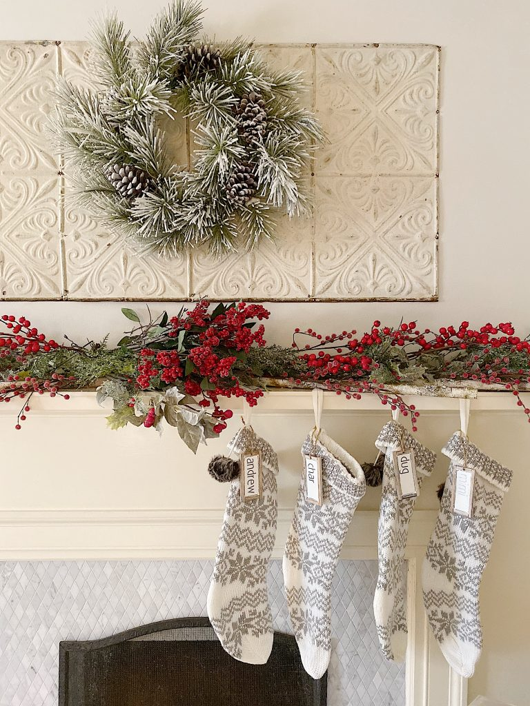 mantel decorated for the holidays