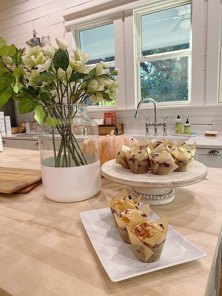 kitchen island with muffins