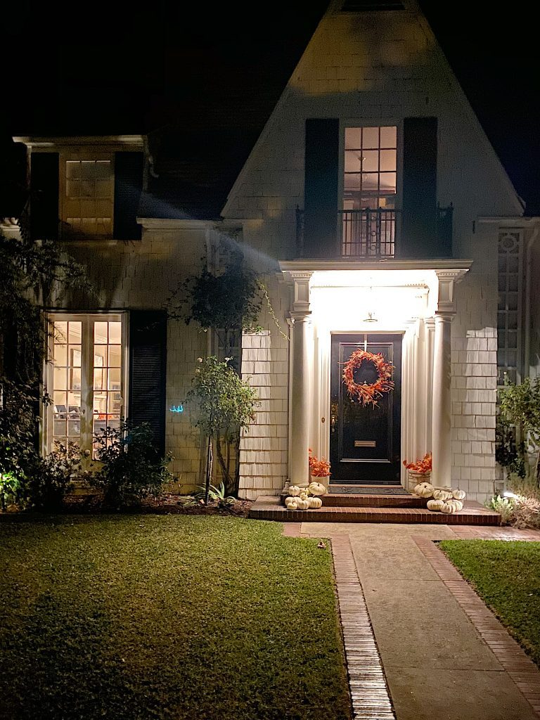front porch with lighting