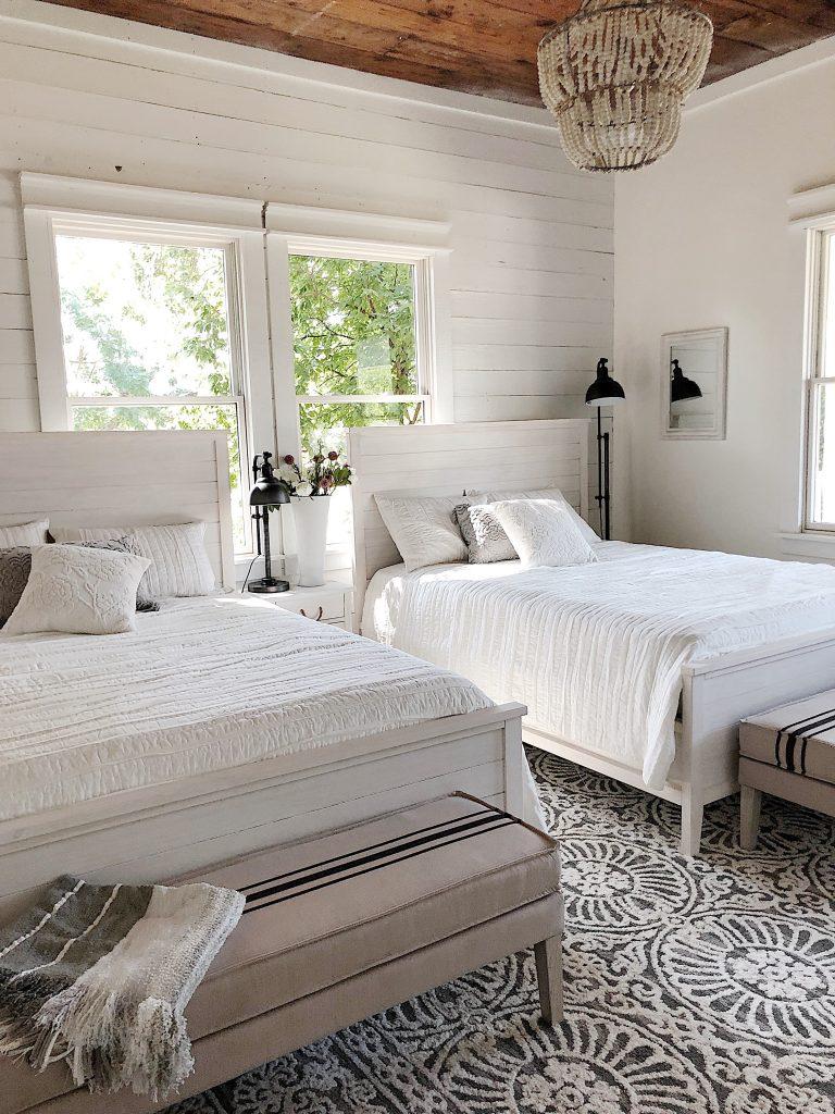 Guest bedroom at the waco fixer upper home