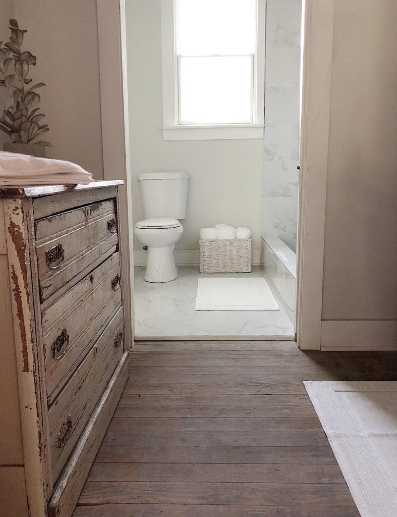 Guest bathroom at the Waco fixer home
