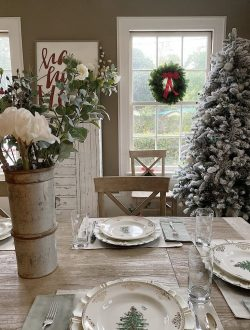 christmas decorations in the dining room