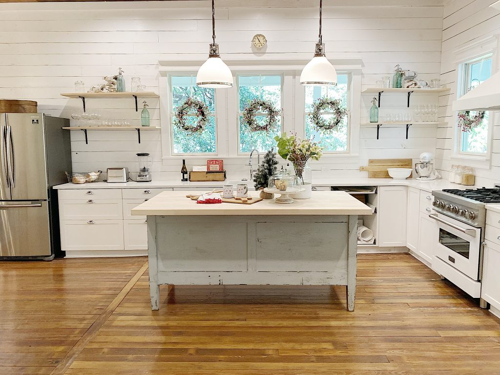 kitchen at the waco fixer upper home