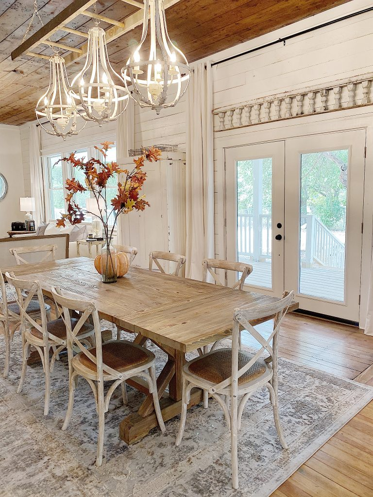 Dining room at the waco fixer upper home