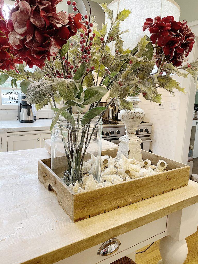 red hydrangeas in the kitchen