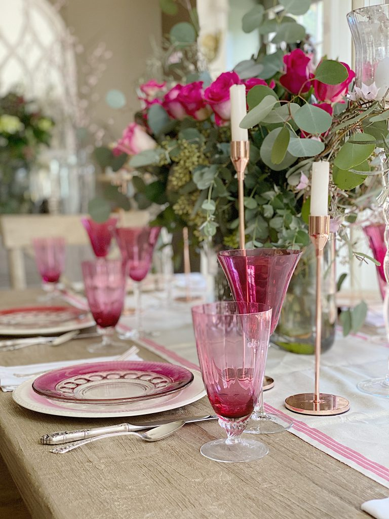 cranberry glass table setting