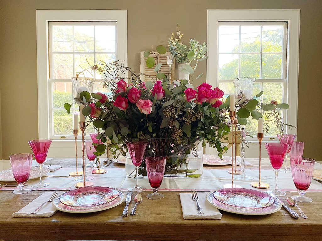 table setting for Valentine's Day