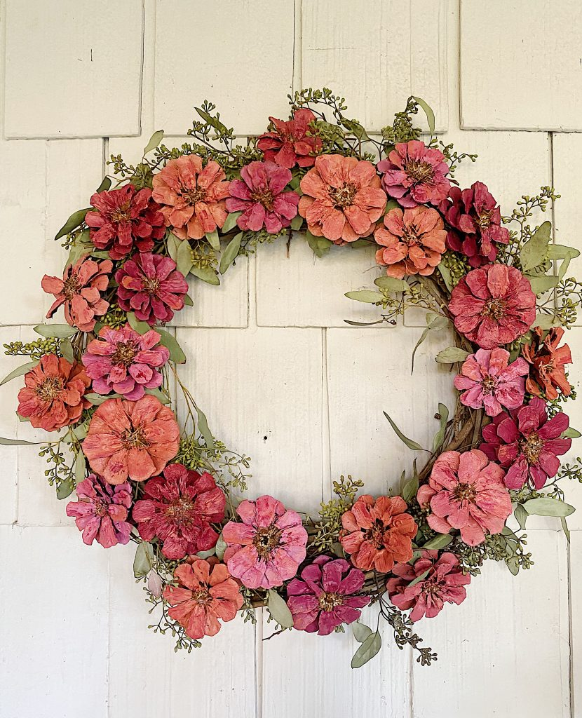 diy wreath for spring from pinecones