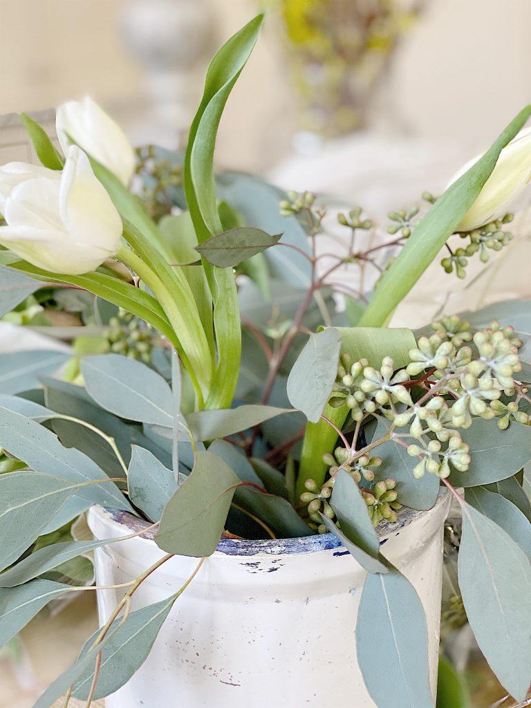 how to arrange tulips in vintage crocks