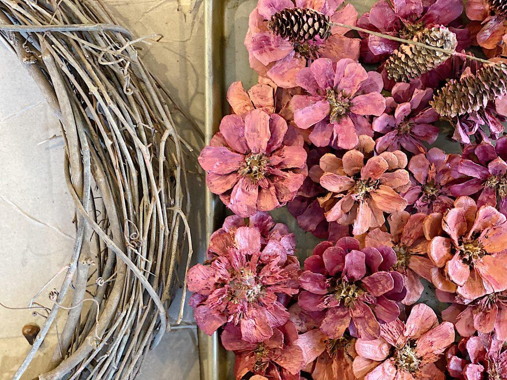 pine cones materials for wreath