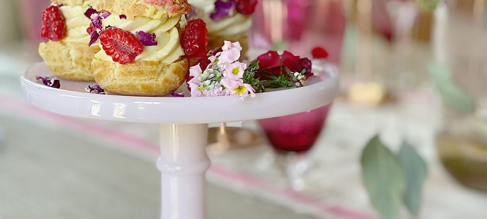 Pate a Choux with Mousseline Cream and Raspberry Filling