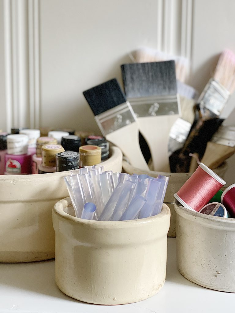 using vintage items for craft storage