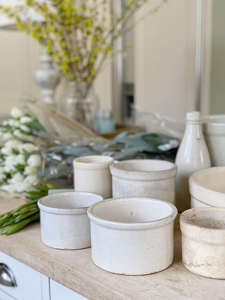 vintage crock floral arrangements