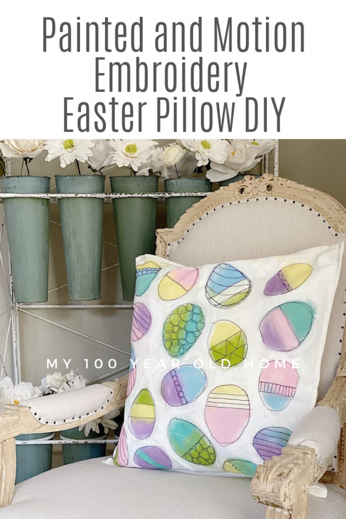 I am obsessed with Free Motion Embroidery And I Love It! I Combined Two Of My Favorite Passions, Art And Sewing, And Created This Painted And Embroidered Easter Craft DIY Pillow.