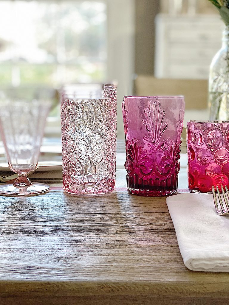 Spring Table with Colored Glassware