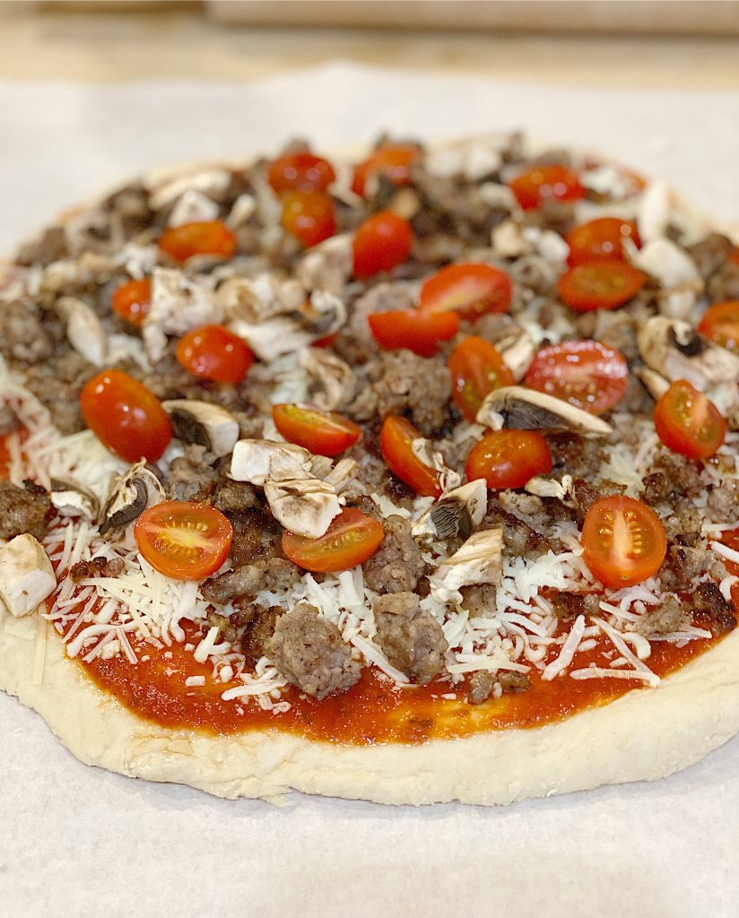 homemade sausage and mushroom pizza
