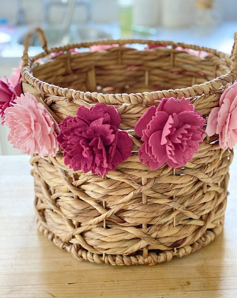 Basket with Peony Felt Flowers