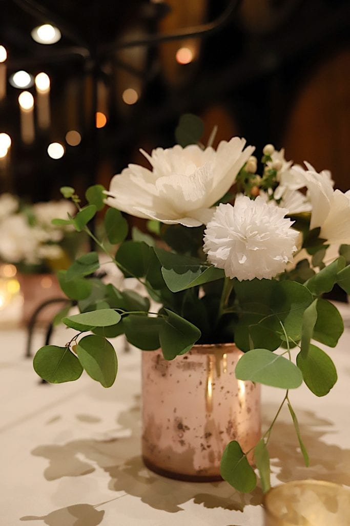 Crepe Paper Floral Arrangements for the Rehearsal Dinner