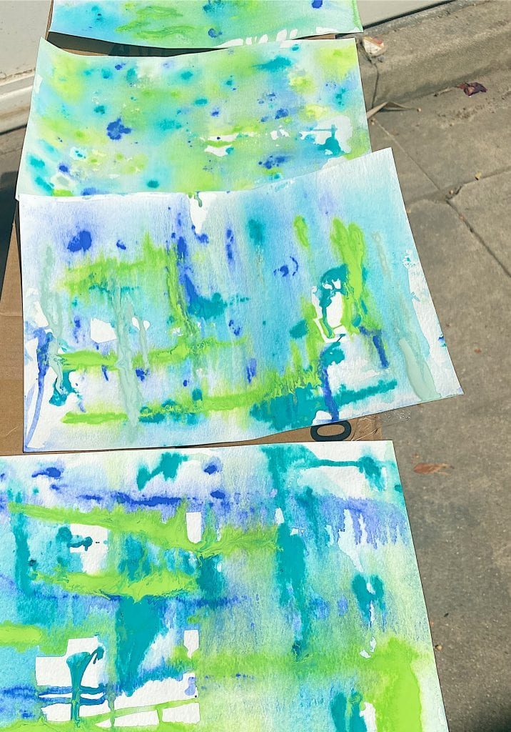 Painted Paper Drying