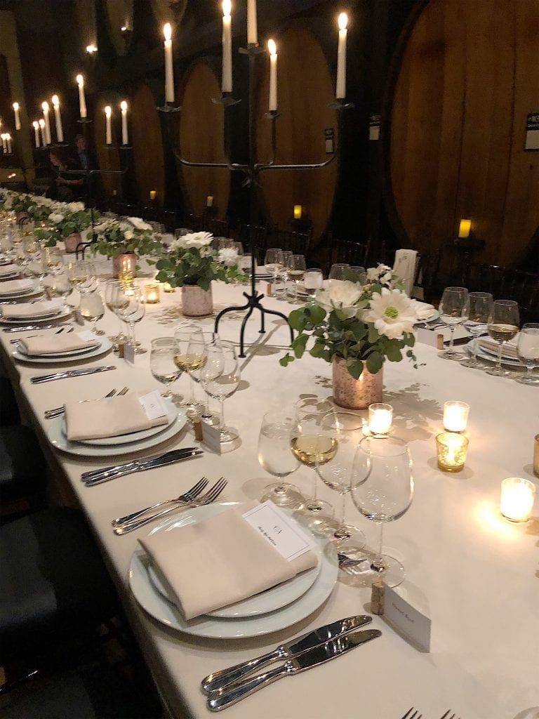 Rehearsal Dinner Table at a Winery