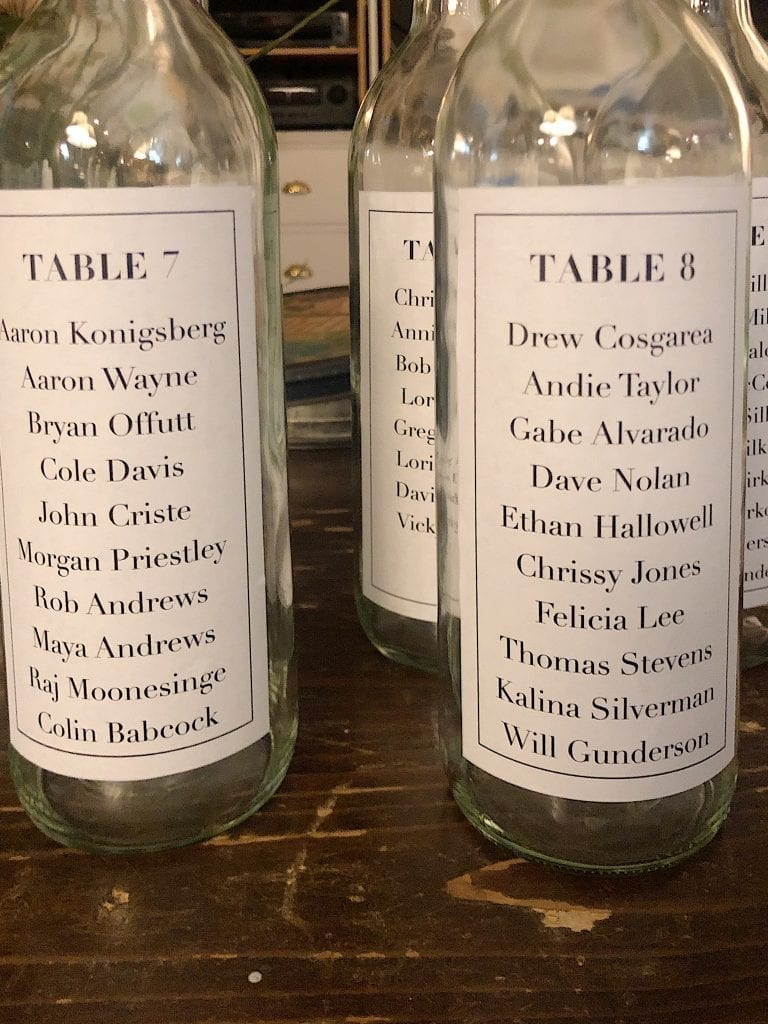 Table assignments for wedding