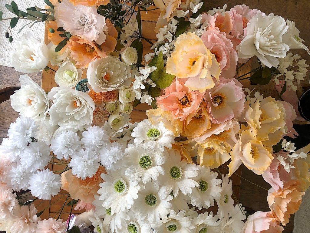 paper flowers for the rehearsal dinner