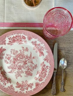 Spring Table with Pink Transferware