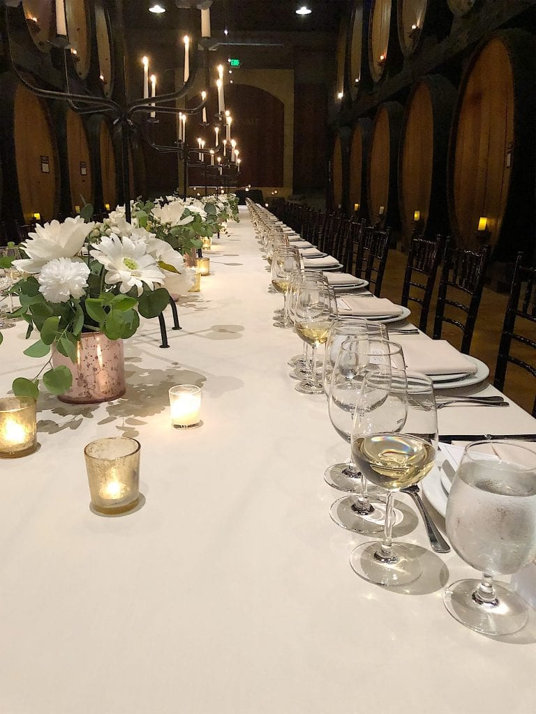table in the barrel room