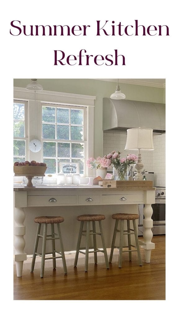 I love decorating our home for summer. Today I am sharing decorating ideas in our summer kitchen and back porch. I hope you like them.
