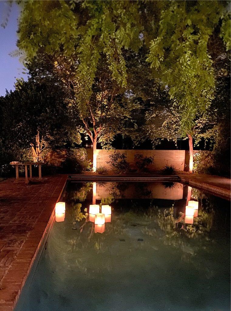 paper lanterns near the pool