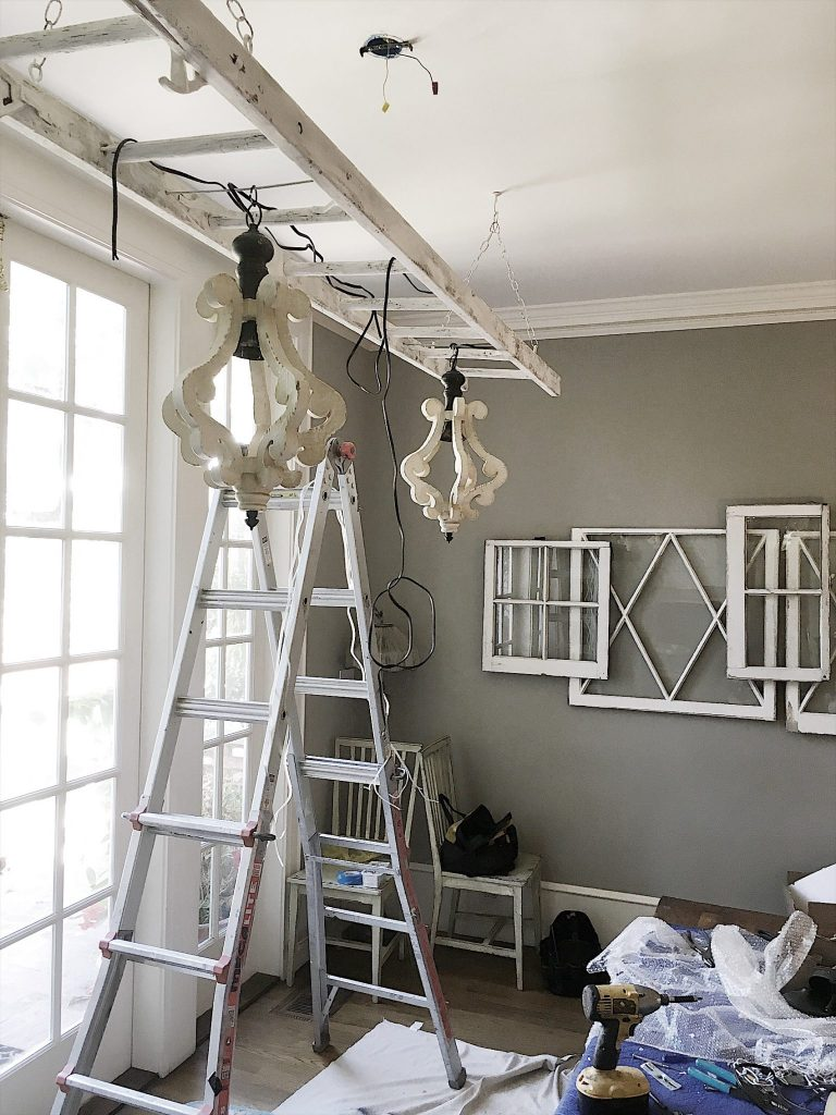 How to Make a Ladder Chandelier