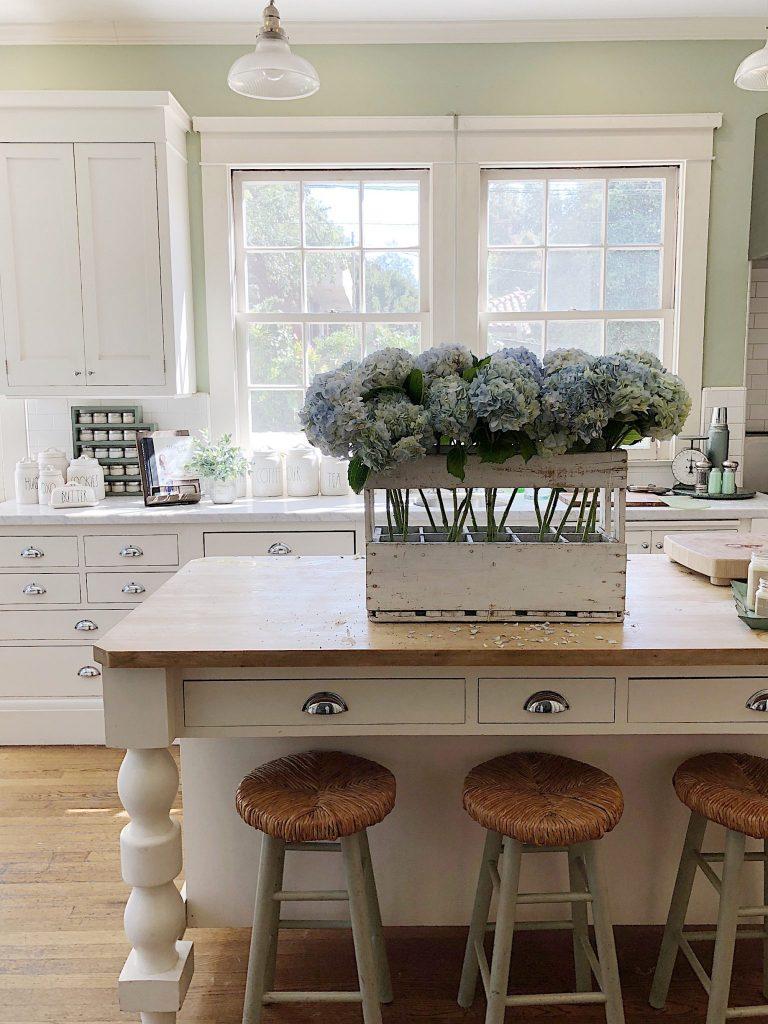 Hydrangea Flowers in the Kitchen