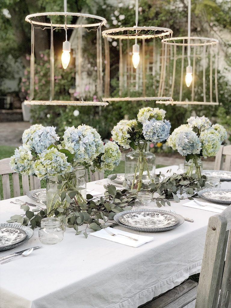 Hydrangeas on a Mothers Day Table
