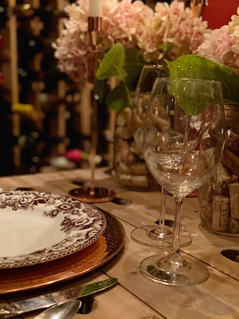 Hydrangeas on the Wine Table