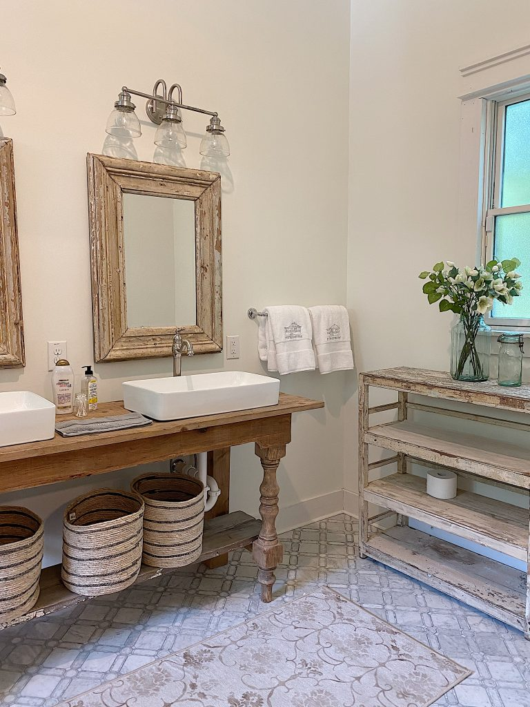 Vintage Bathroom Counter and Shelf