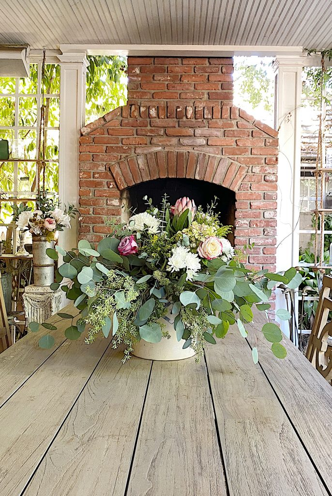 Floral Centerpiece on the Outdoor Table