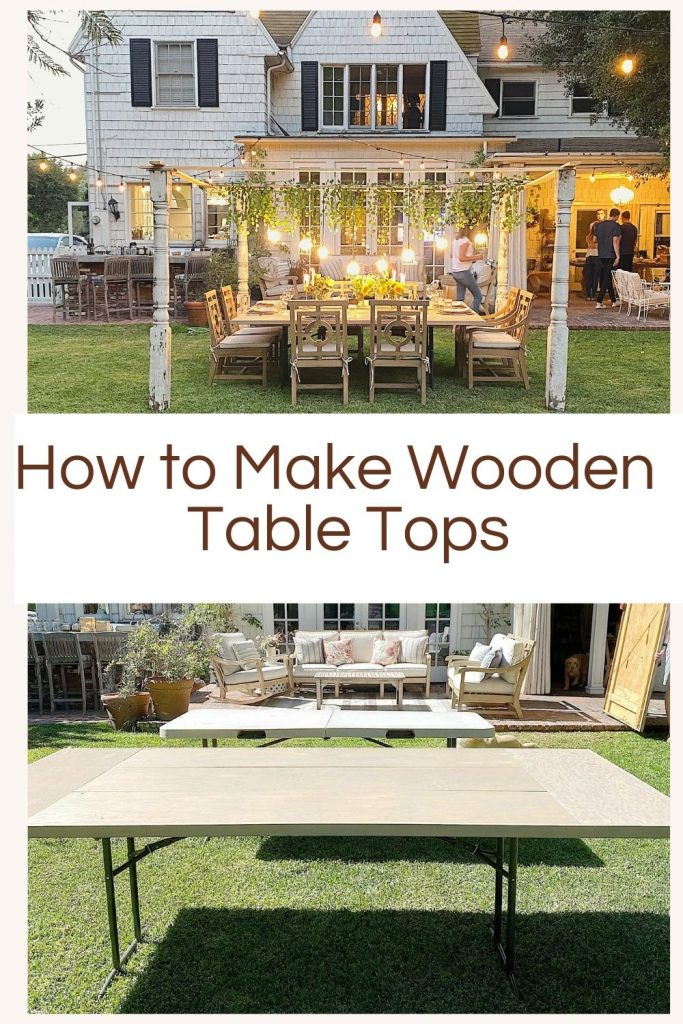 We entertain a lot and I tired of renting plastic tables. So I built my own wood table tops that look like our expensive dining room table! Today I am sharing how to make wood table tops.