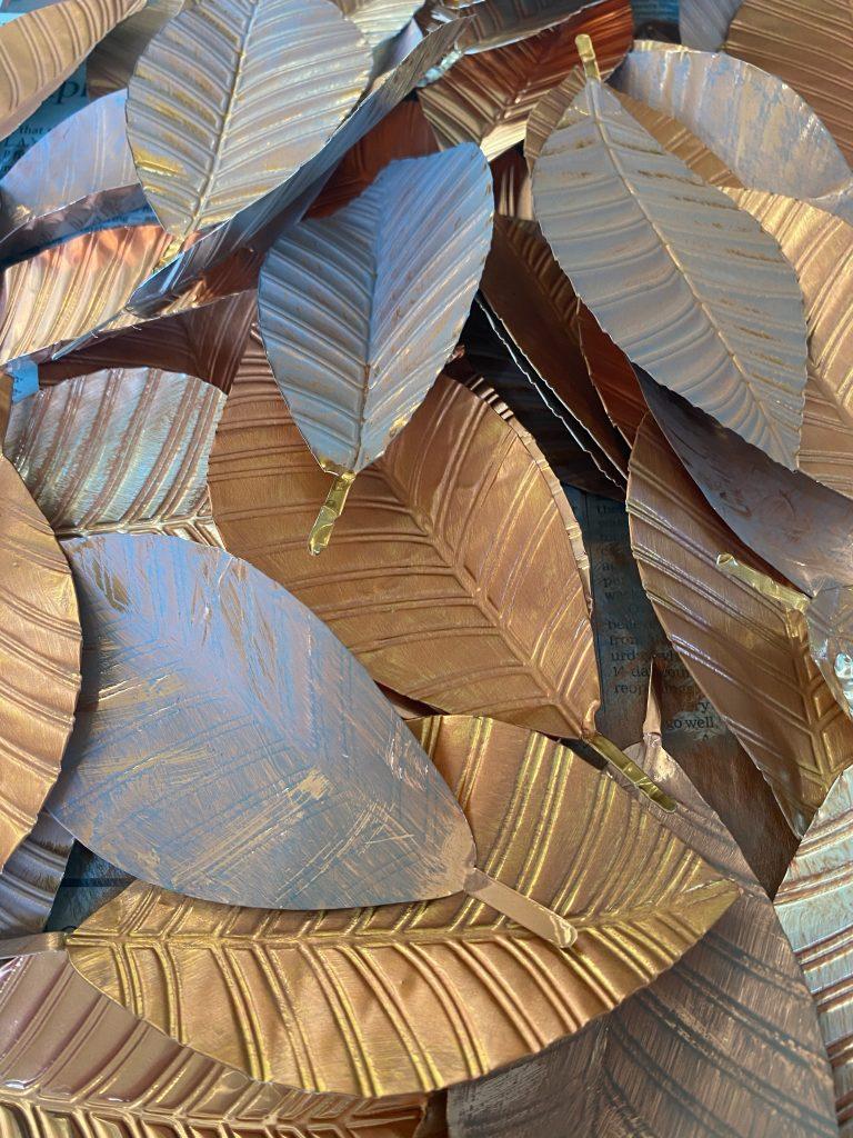 Painted Metal Leaves
