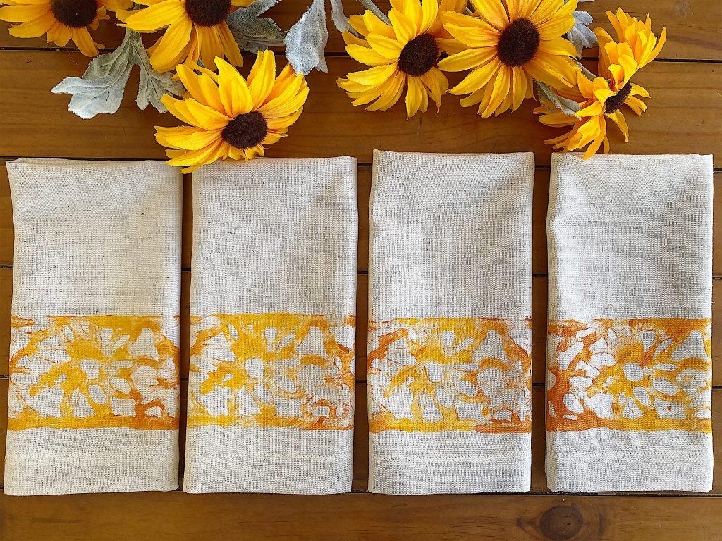 Stenciled Sunflower Napkins